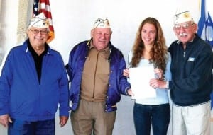 The Department of Wisconsin was able to officially present Meredith Gingold with the Seymour and Phyliss Shore Memorial Grant awarded by the Jewish War Veterans National Youth Achievement Program. From left: PDC Ronald Laux, Department Commander Paul Fine, grant winner Meredith Gingold, and Meredith's grandfather, PDC Sam Gingold.